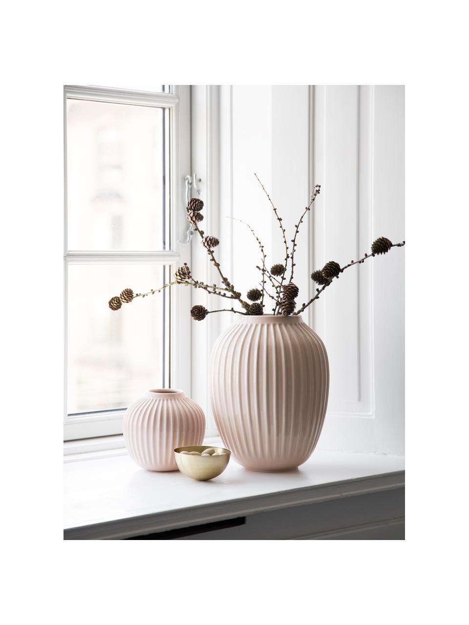 Mały ręcznie wykonany wazon Hammershøi, Porcelana, Blady różowy, Ø 14 x W 13 cm