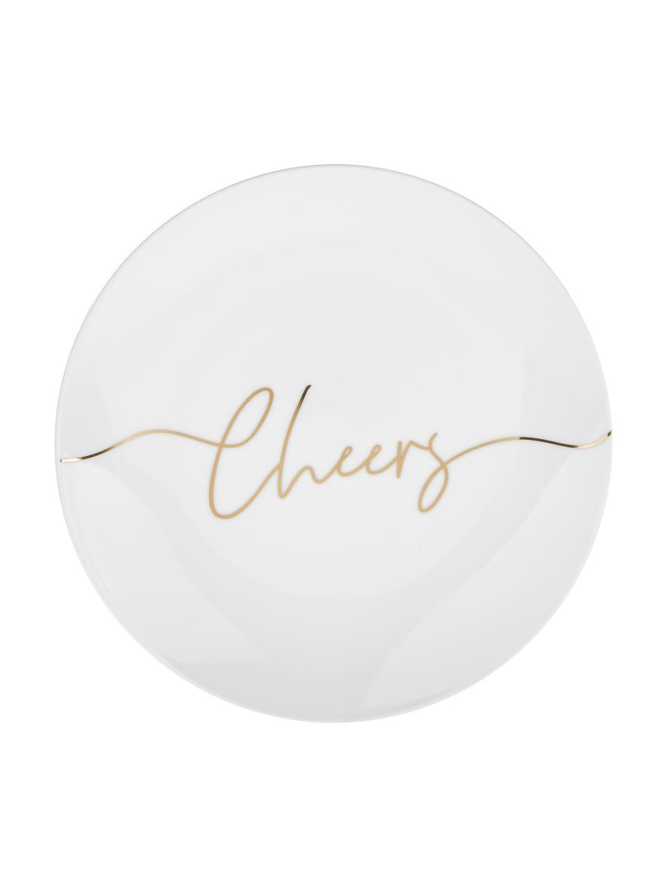 Porzellan Frühstücksteller Cheers mit goldener Aufschrift, 4er-Set, Porzellan, Weiß, Gold, Ø 21 cm
