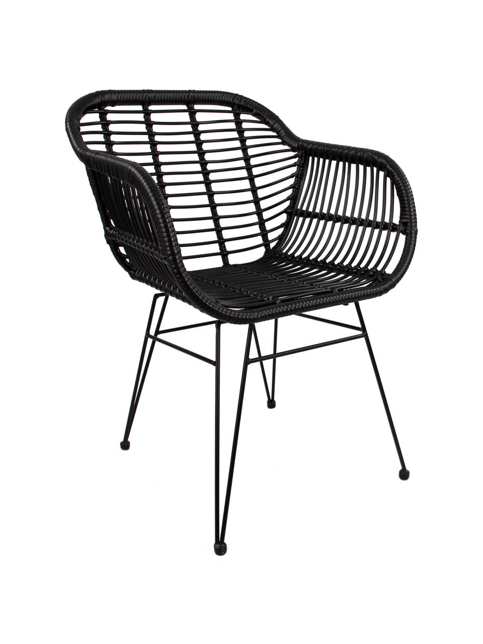 Krzesło z podłokietnikami z polirattanu Costa, 2 szt., Stelaż: metal malowany proszkowo, Czarny, S 59 x G 58 cm