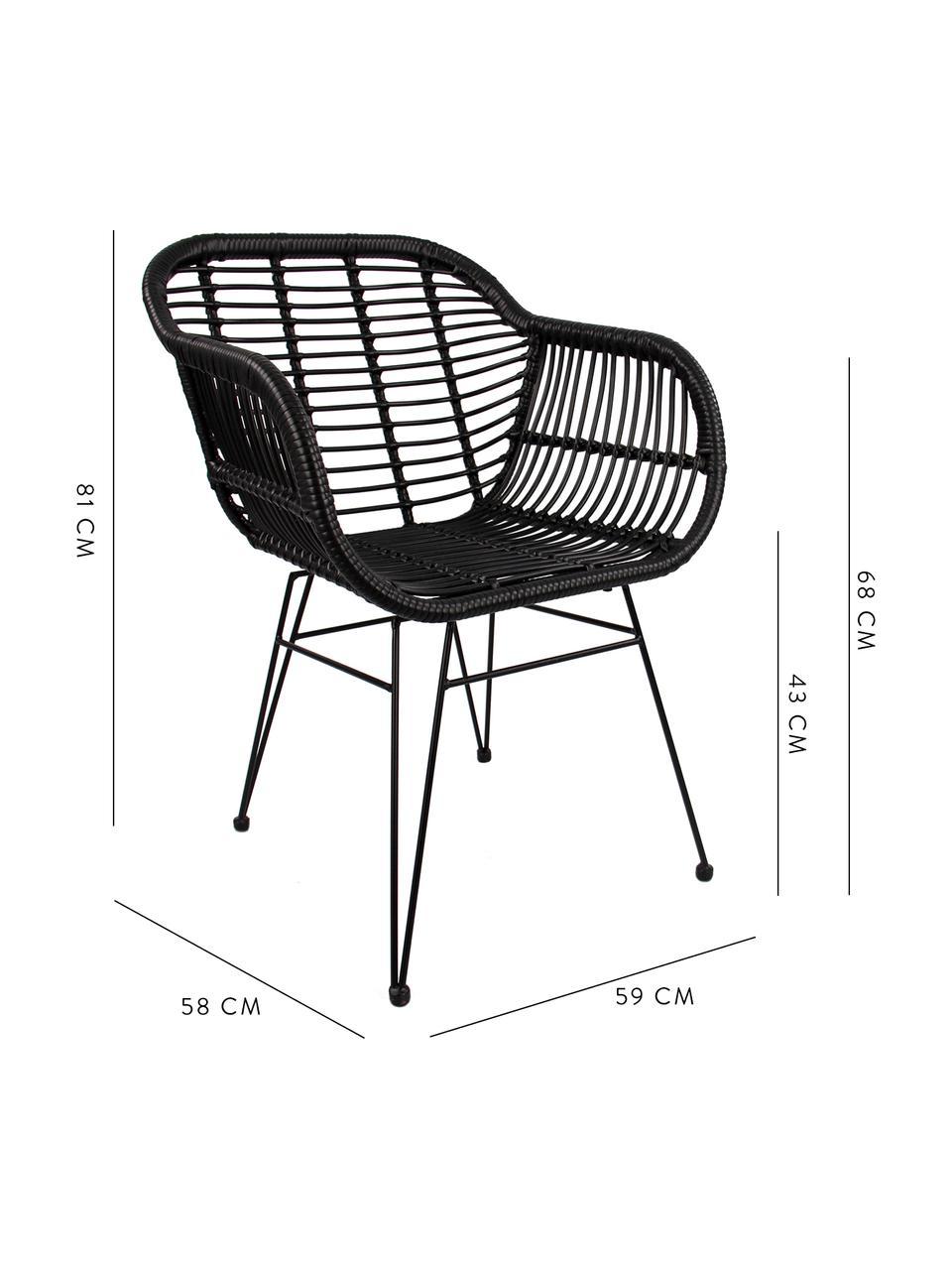 Polyrattan-Armlehnstühle Costa, 2 Stück, Sitzfläche: Polyethylen-Geflecht, Gestell: Metall, pulverbeschichtet, Schwarz, Beine Schwarz, B 59 x T 58 cm