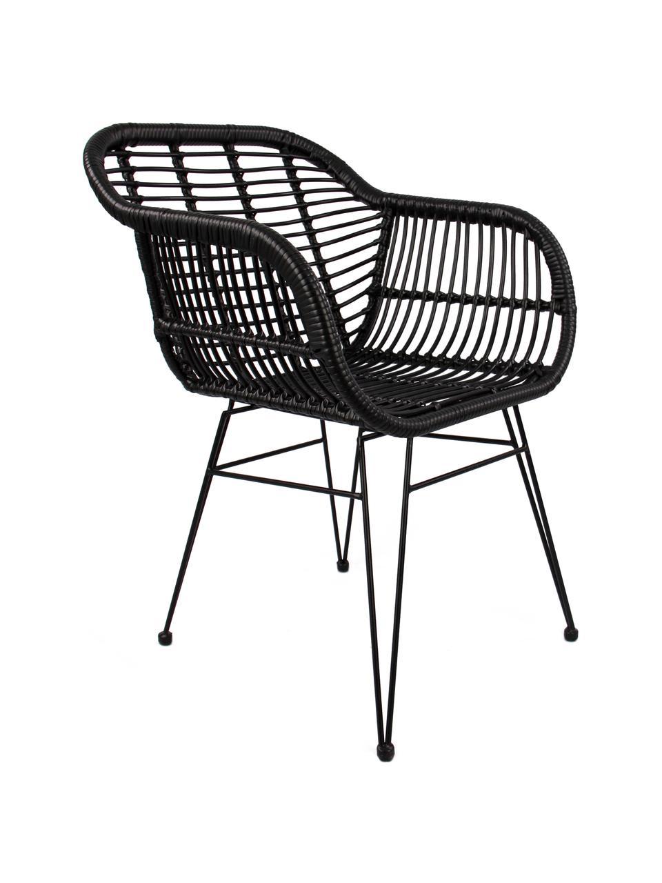 Sedia intrecciata con braccioli Costa 2 pz, Seduta: intreccio in polietilene, Struttura: metallo verniciato a polv, Nero, Larg. 59 x Prof. 58 cm