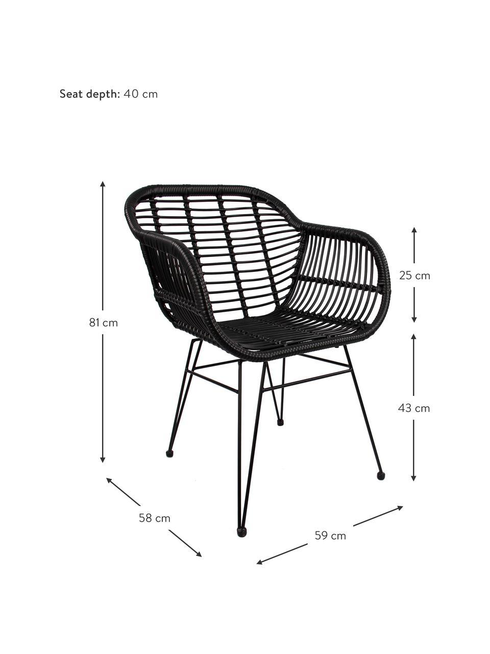 Polyrattan-Armlehnstühle Costa, 2 Stück, Sitzfläche: Polyethylen-Geflecht, Gestell: Metall, pulverbeschichtet, Schwarz, Schwarz, B 59 x T 58 cm