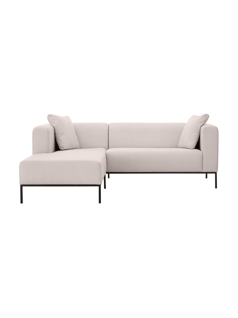 Sofa narożna z metalowymi nogami Carrie, Tapicerka: poliester 50 000 cykli w , Tapicerka: wyściółka z pianki na zaw, Nogi: metal lakierowany, Jasny szary, S 222 x G 180 cm