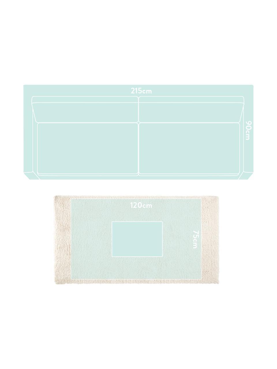 Zacht hoogpolig vloerkleed Venice in crèmekleur, Bovenzijde: 100% polypropyleen, Onderzijde: jute, Crèmekleurig, B 160 x L 230 cm (maat M)