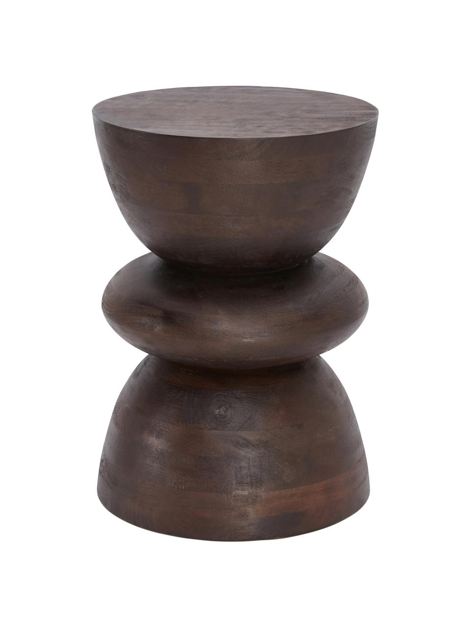 Stolik pomocniczy z drewna mangowego Benno, Lite drewno mangowe, lakierowane, Ciemny brązowy, Ø 35 x W 50 cm