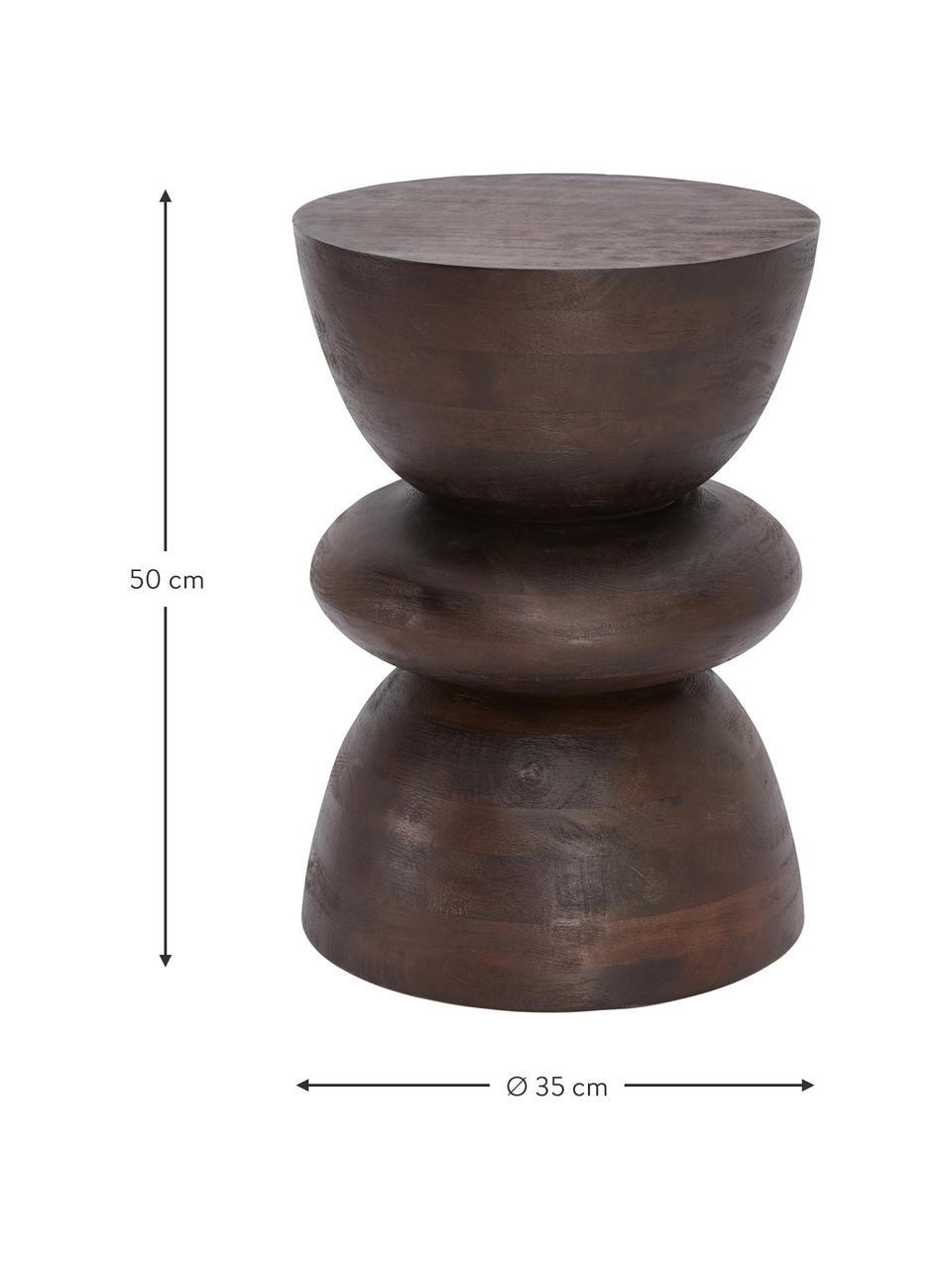 Tavolino in legno di mango marrone Benno, Legno massiccio di mango verniciato, Marrone, Ø 35 x Alt. 50 cm