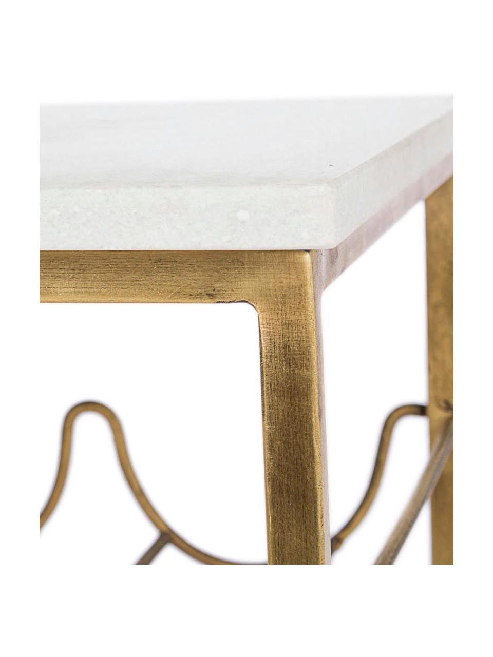 Tavolino con piano in marmo e portabottiglie Marmol, Struttura: acciaio ottonato, Bianco, ottonato, Larg. 39 x Prof. 29 cm