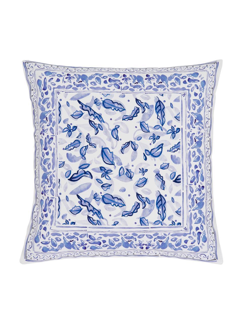 Gemusterte Kissenhülle Andrea, 100% Baumwolle, Beige, Blau, 45 x 45 cm