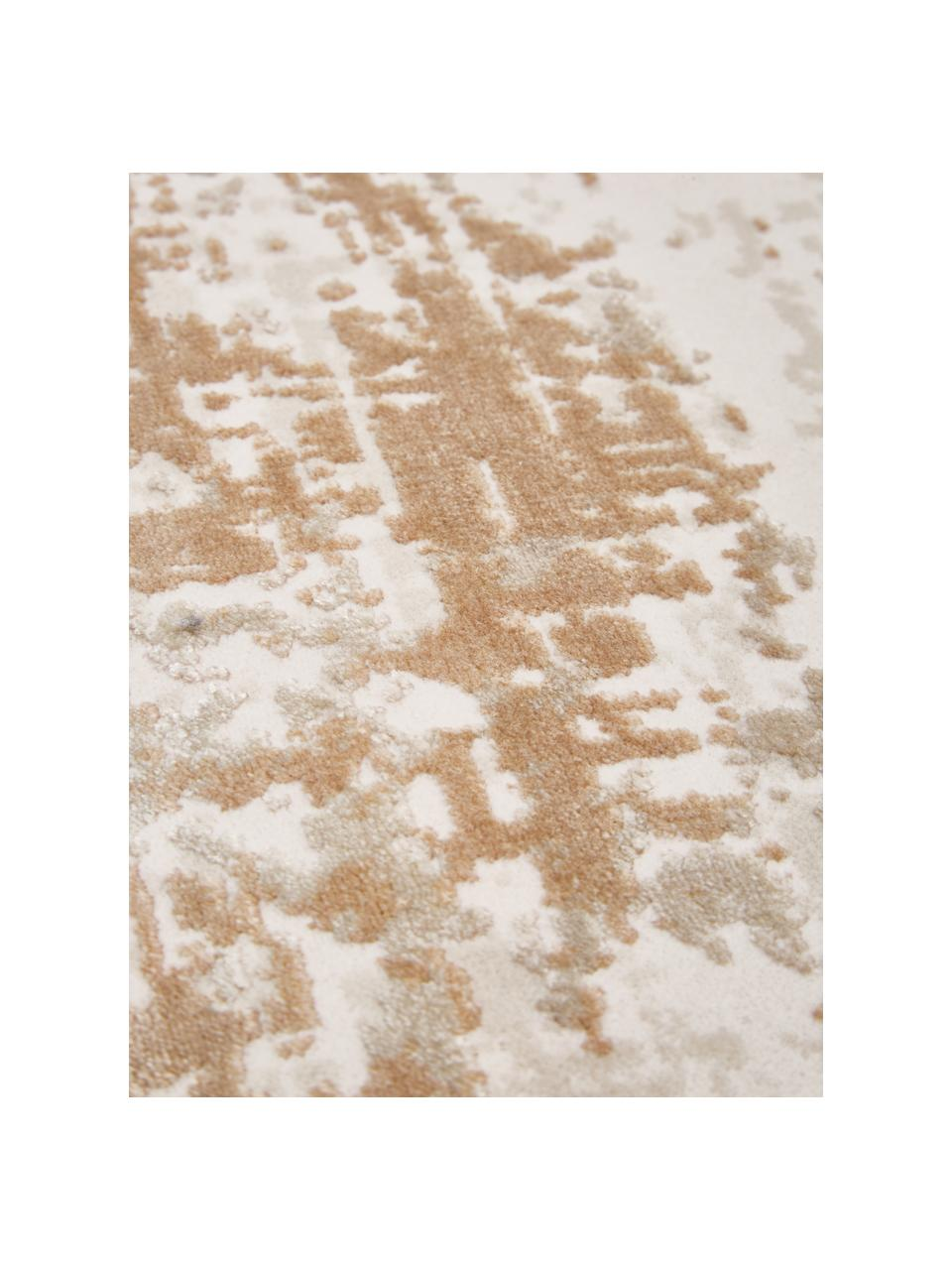 Tappeto rotondo vintage tonalità beige effetto lucido Cordoba, Retro: poliestere, Tonalità beige, Ø 150 cm (taglia M)