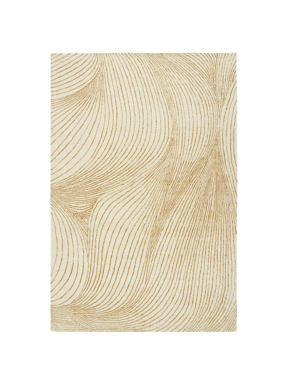 Handgeweven wollen vloerkleed Waverly met golfpatroon, 100% wol Bij wollen vloerkleden kunnen vezels loskomen in de eerste weken van gebruik, dit neemt af door dagelijks gebruik en pluizen wordt verminderd., Beige, wit, B 160 x L 230 cm (maat M)