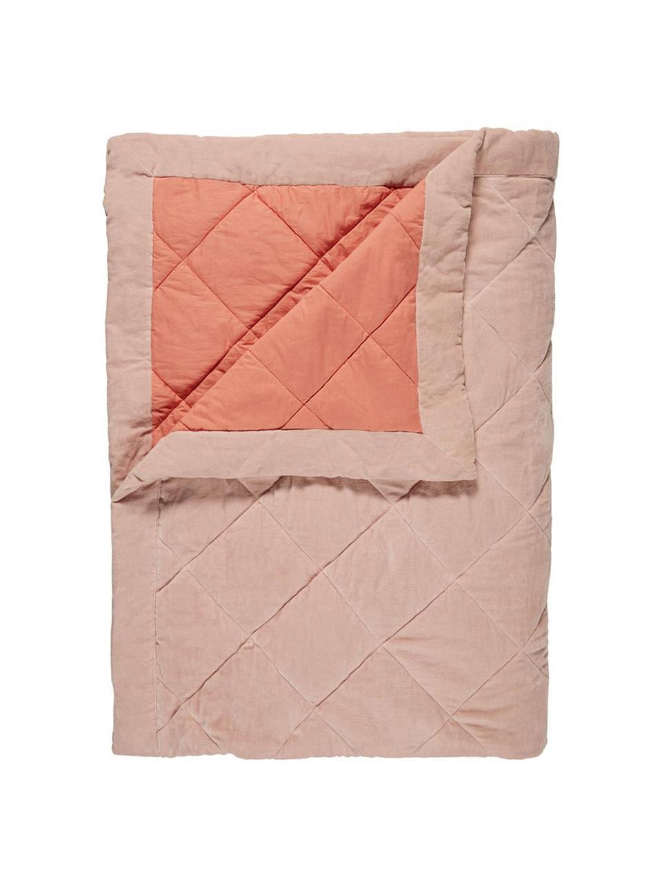Pikowana narzuta z aksamitu Ogibly, 100% bawełna, Jasny różowy, odcienie łososiowego, S 180 x D 260 cm (na łóżka do 160 x 200)