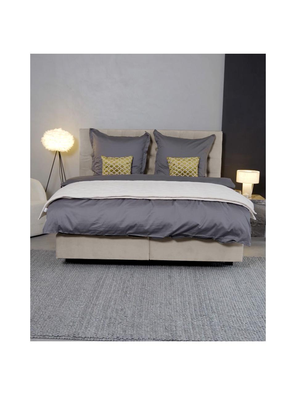 Łóżko kontynentalne z aksamitu premium Phoebe, Nogi: lite drewno brzozowe, lak, Aksamitny taupe, 200 x 200 cm