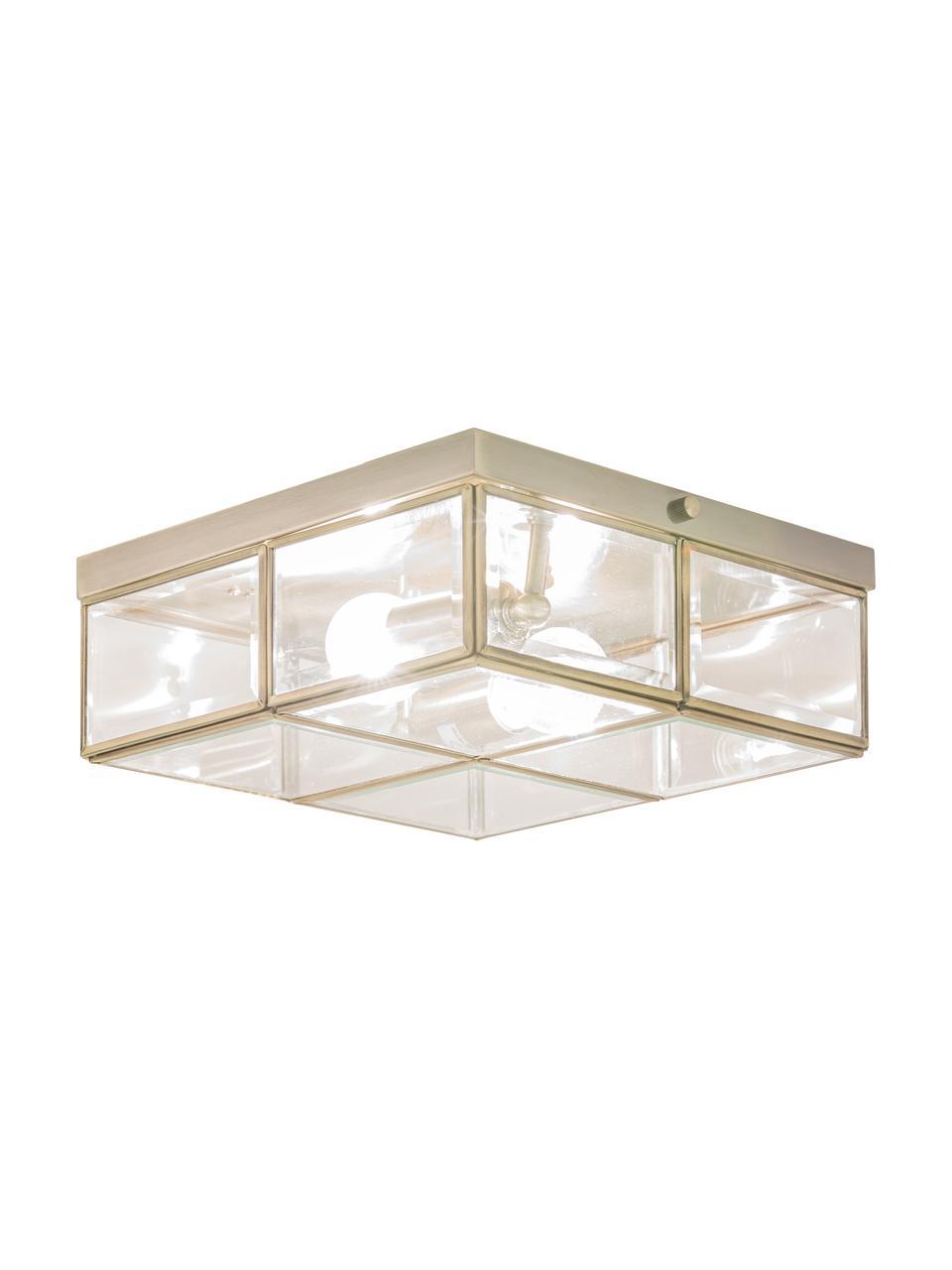 Mała lampa sufitowa Ben, Odcienie mosiądzu, transparentny, S 26 x W 10 cm