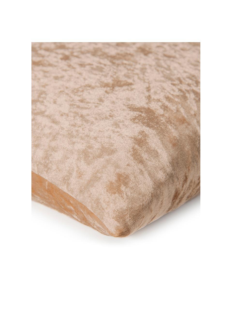 Poszewka na poduszkę z aksamitu Shanta, Aksamit poliestrowy, Odcienie szampańskiego, S 50 x D 50 cm