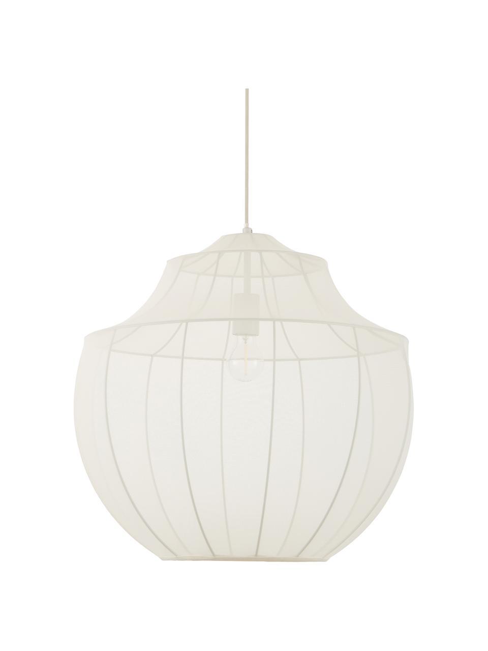 Hanglamp Beau van netstof, Lampenkap: textiel, Baldakijn: gepoedercoat metaal, Crèmekleurig, Ø 55  x H 52 cm