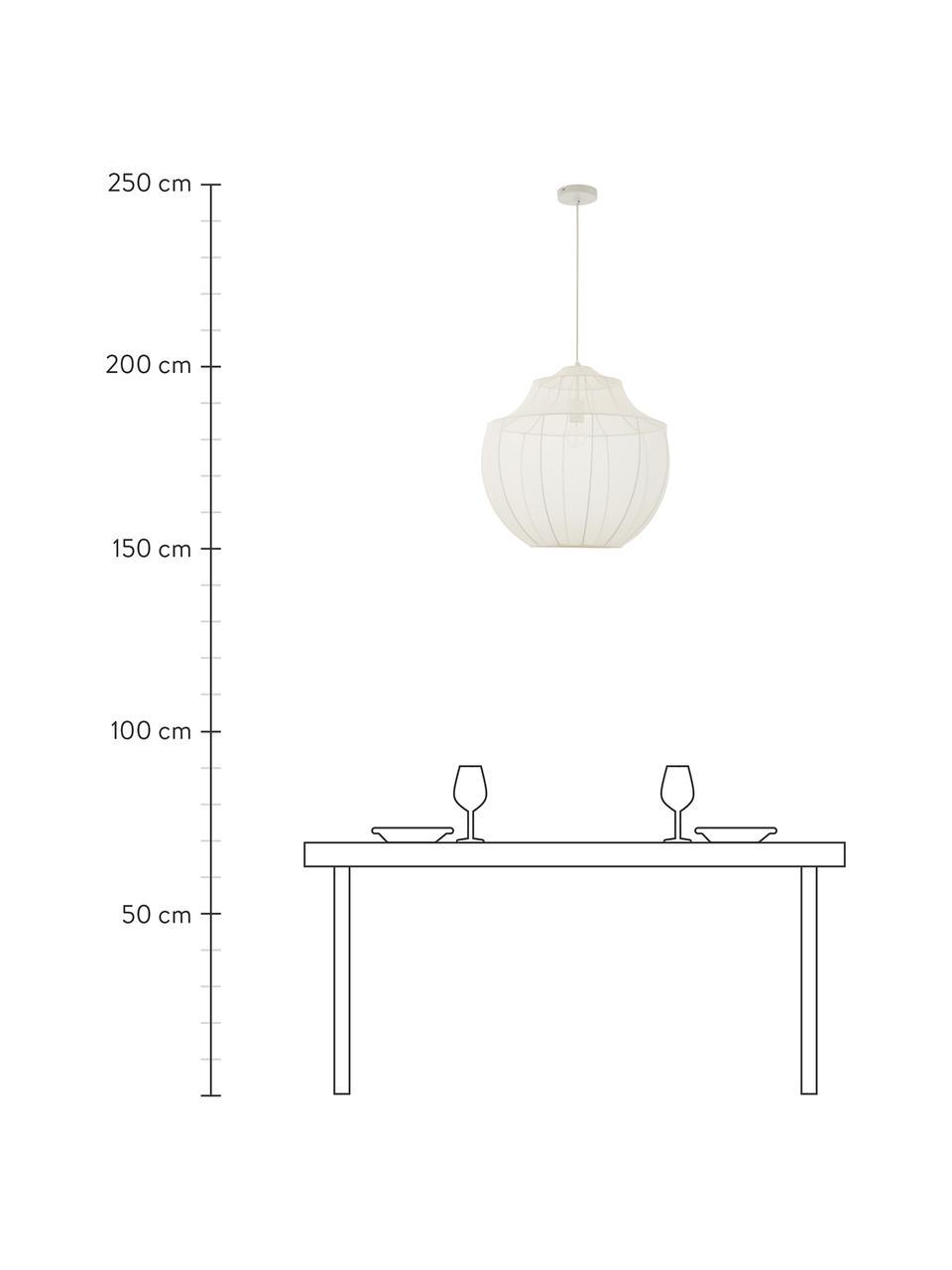 Pendelleuchte Beau aus Netzstoff, Lampenschirm: Textil, Baldachin: Metall, pulverbeschichtet, Creme, Ø 52 x H 52 cm