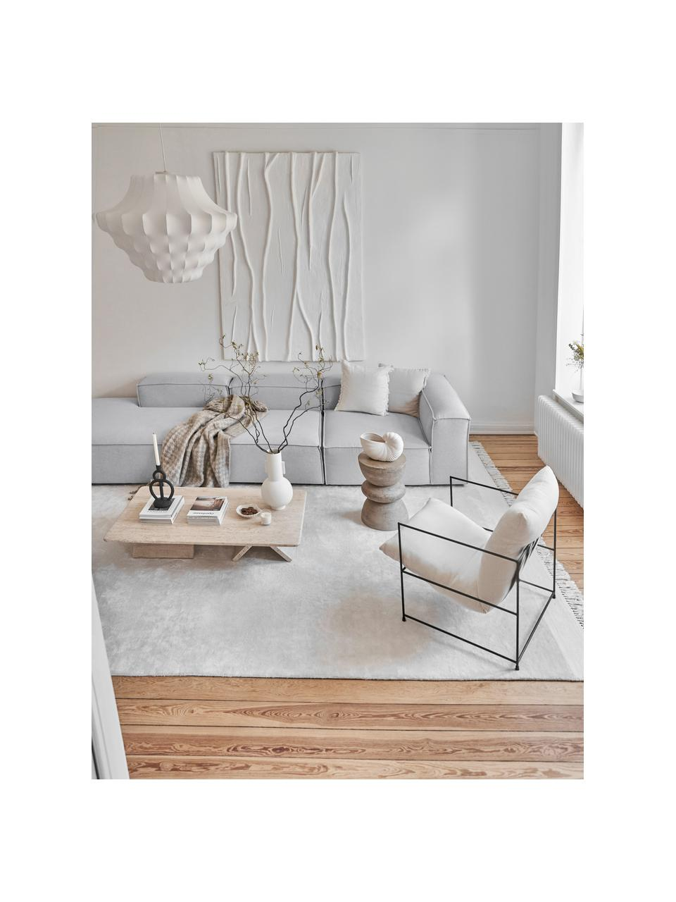 Modulaire XL chaise longue Lennon in lichtgrijs, Bekleding: polyester De hoogwaardige, Frame: massief grenenhout, multi, Poten: kunststof De poten bevind, Geweven stof lichtgrijs, B 357 x D 119 cm