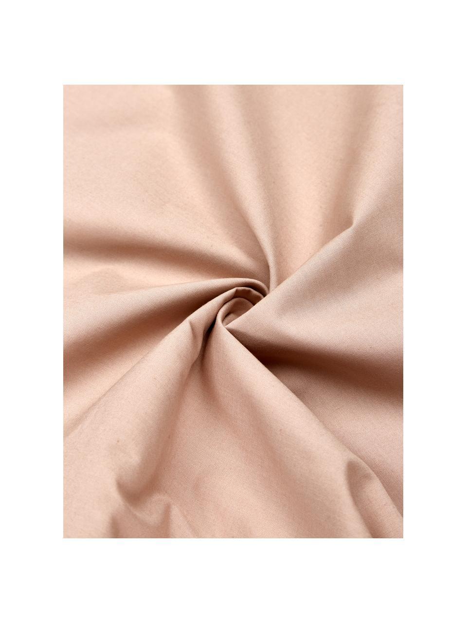 Pościel z perkalu z pomponami Bommy, Blady różowy, 135 x 200 cm + 1 poduszka 80 x 80 cm