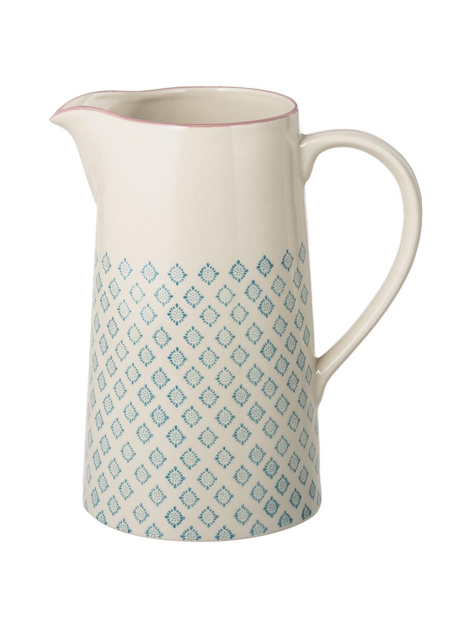 Handbeschilderde keramische waterkan Patrizia met een speels patroon, 2 L, Keramiek, Petrolkleurig, crèmekleurig, paars, 2 L