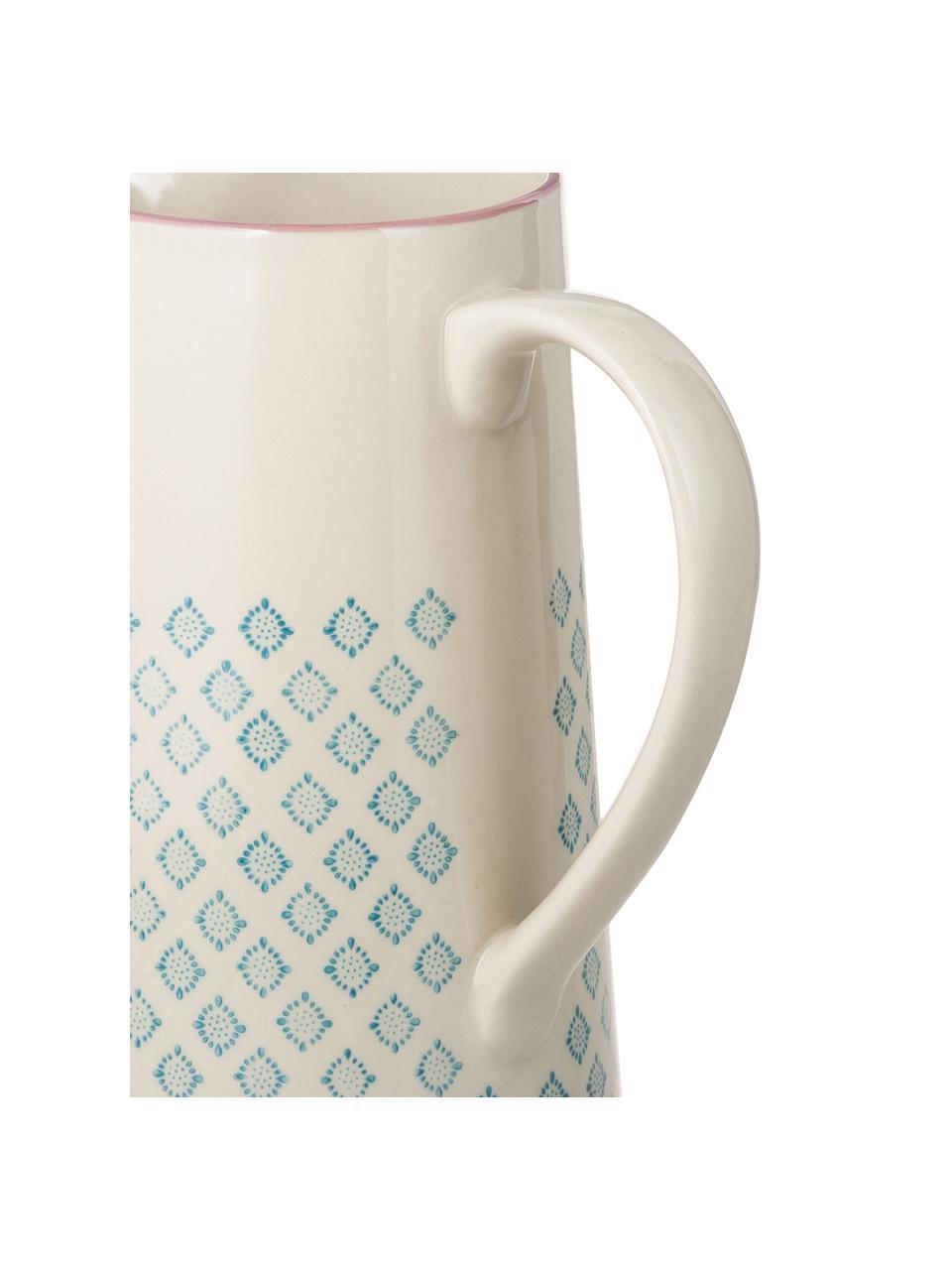 Handbemalter Steingut Wasserkrug Patrizia mit verspieltem Muster, 2 L, Steingut, Petrol, Creme, Violett, 2 L