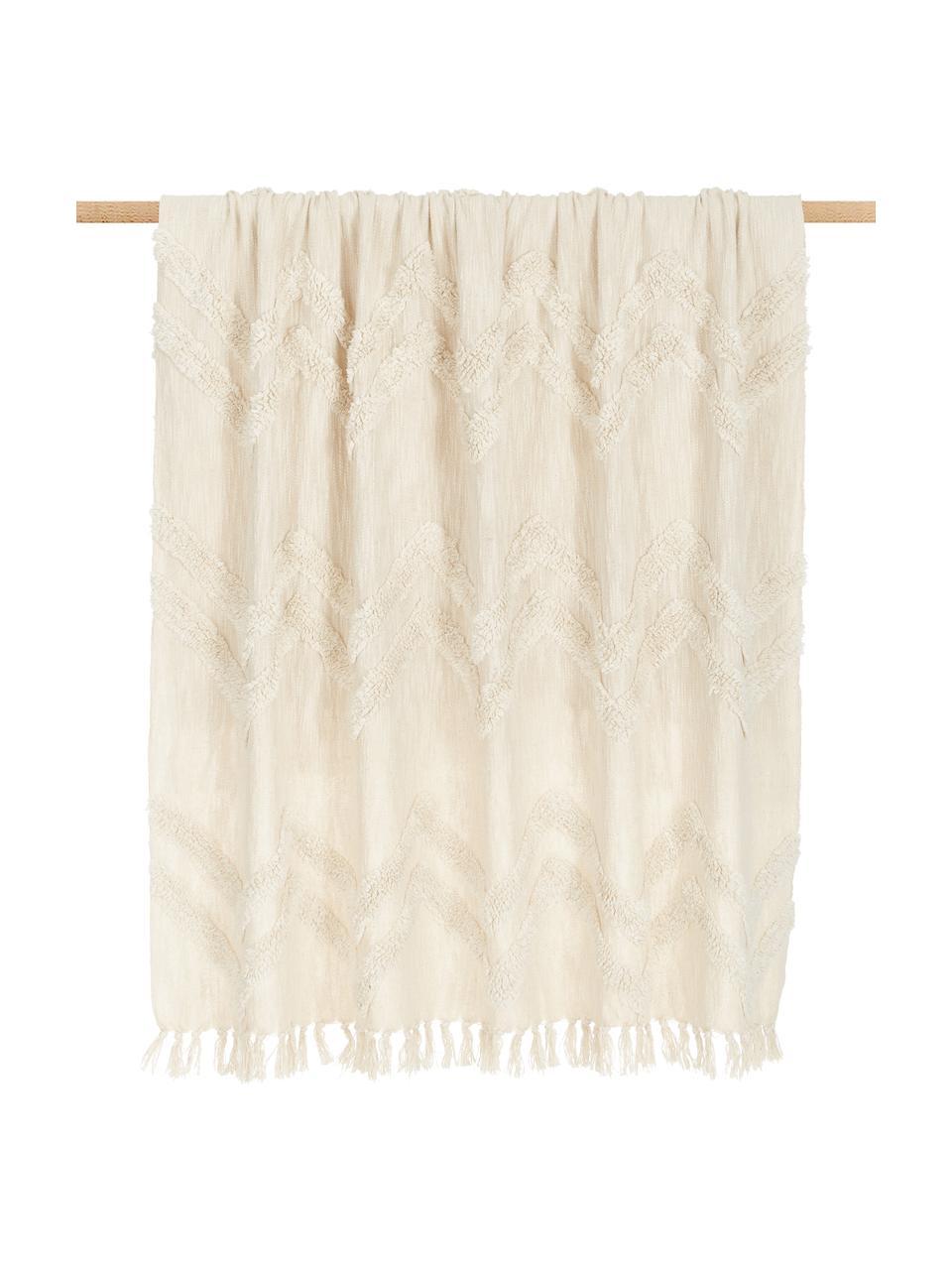 Boho Baumwolldecke Akesha mit getuftetem Zickzack-Muster, 100% Baumwolle, Ecru, 130 x 170 cm