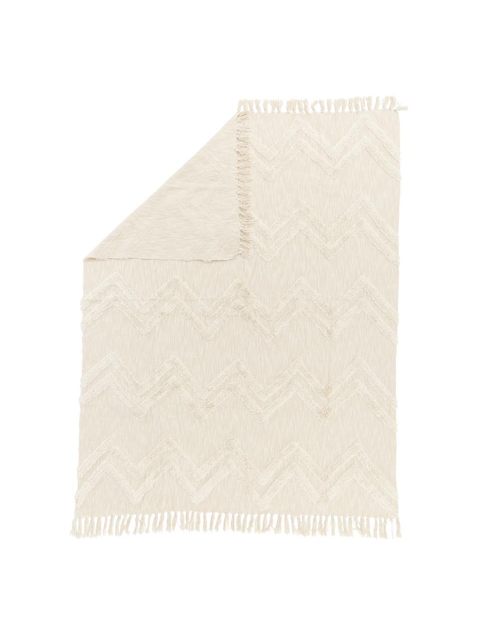 Coperta boho in cotone con motivo a zigzag trapuntato Akesha, 100% cotone, Ecru, Larg. 130 x Lung. 170 cm
