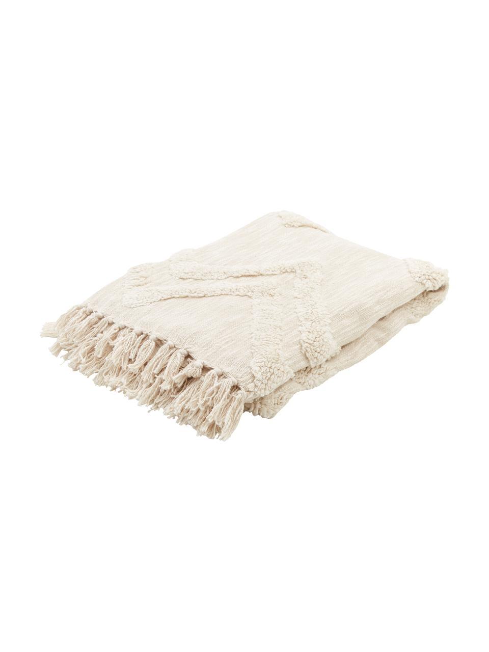 Plaid blanc écru coton bohème Akesha, Écru