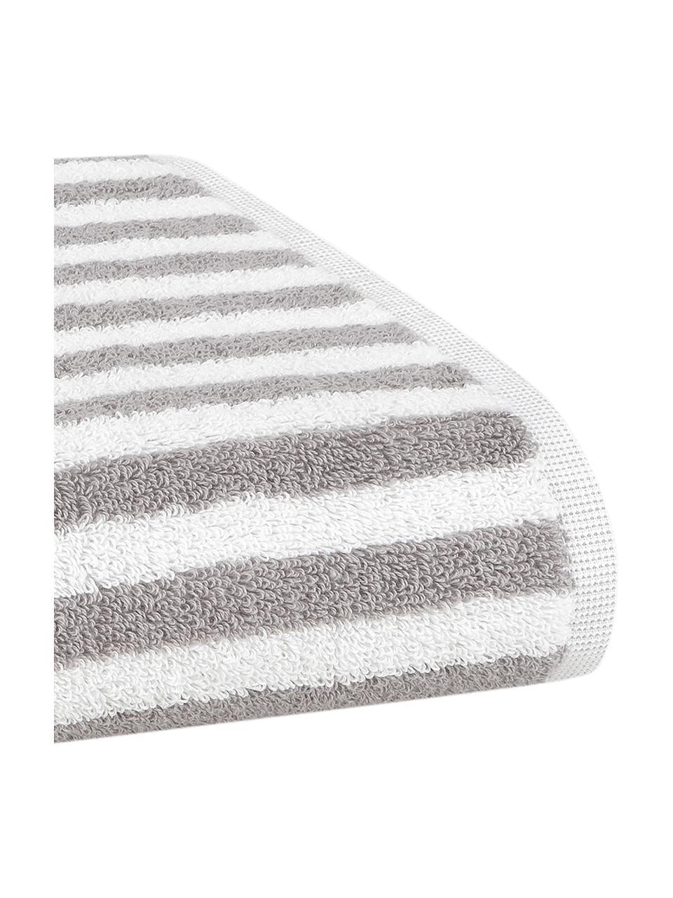 Lot de serviettes de bain à rayures Viola, 3élém., Gris, blanc crème