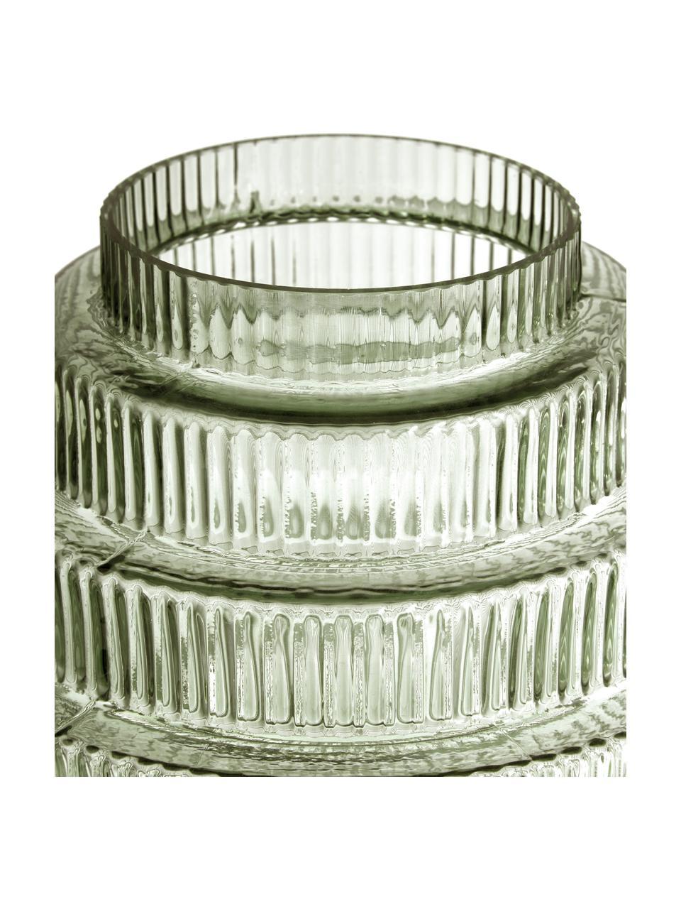 Vaso di design moderno in vetro verde Rilla, Vetro, Verde, Ø 16 x Alt. 16 cm