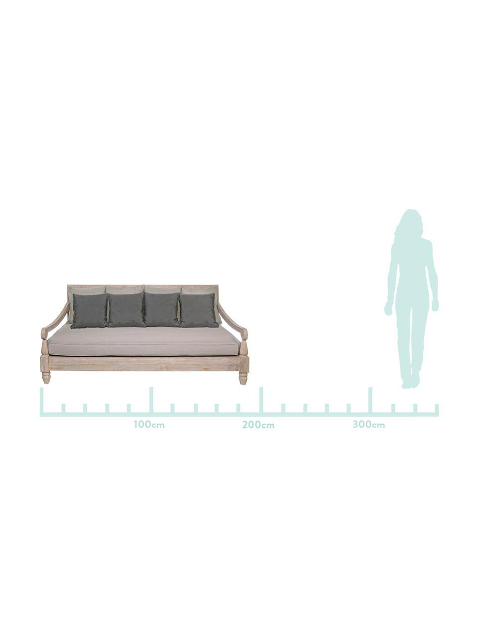 Outdoor loungebank Bali van teakhout (3-zits), Frame: teakhout, Bekleding: 100% polyester, UV- en wa, Frame: teakhoutkleurig. Bekleding: grijs, 190 x 112 cm