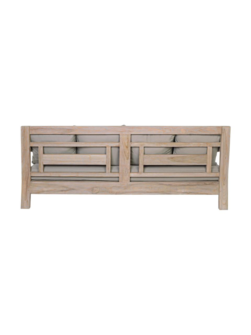 Garten-Loungesofa Bali aus Teakholz (3-Sitzer), Rahmen: Teakholz, Rahmen: Teak Bezüge: Grau, B 190 x T 112 cm