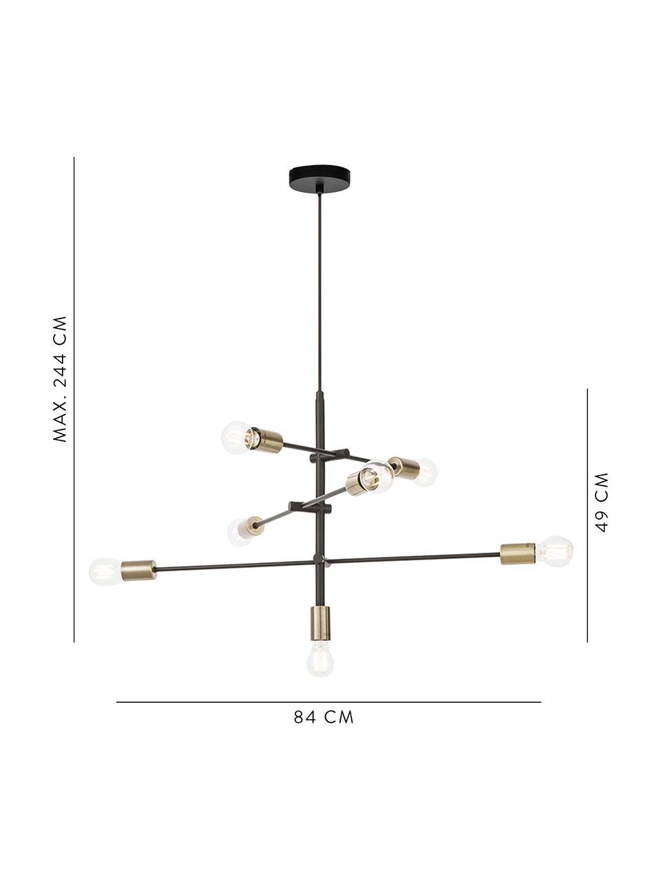 Lampada a sospensione nera Visby, Baldacchino: metallo verniciato a polv, Nero, Ø 84