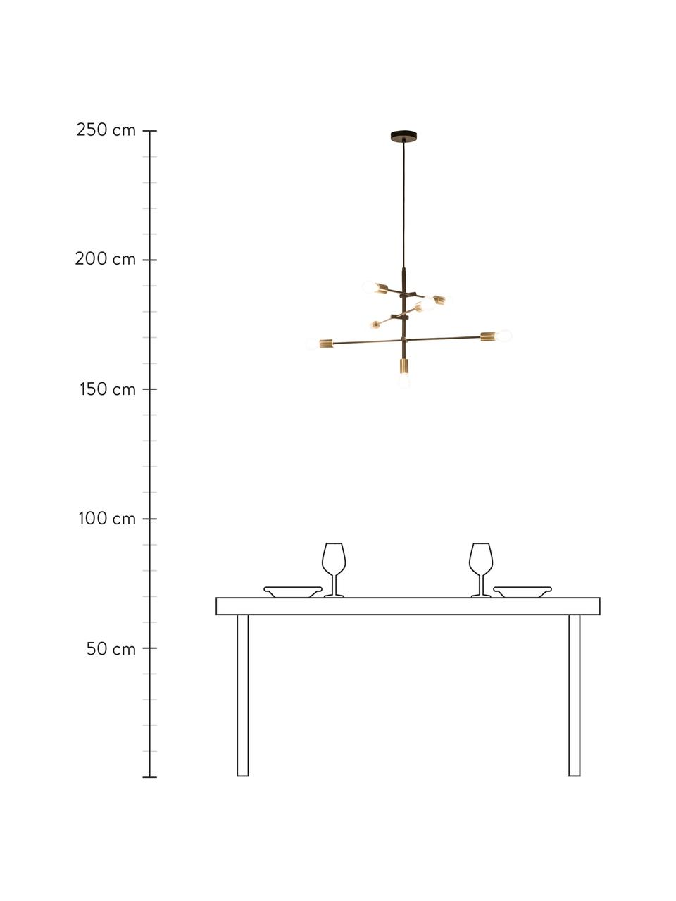 Grote hanglamp Visby in zwart, Baldakijn: gepoedercoat metaal, Zwart, Ø 84 cm