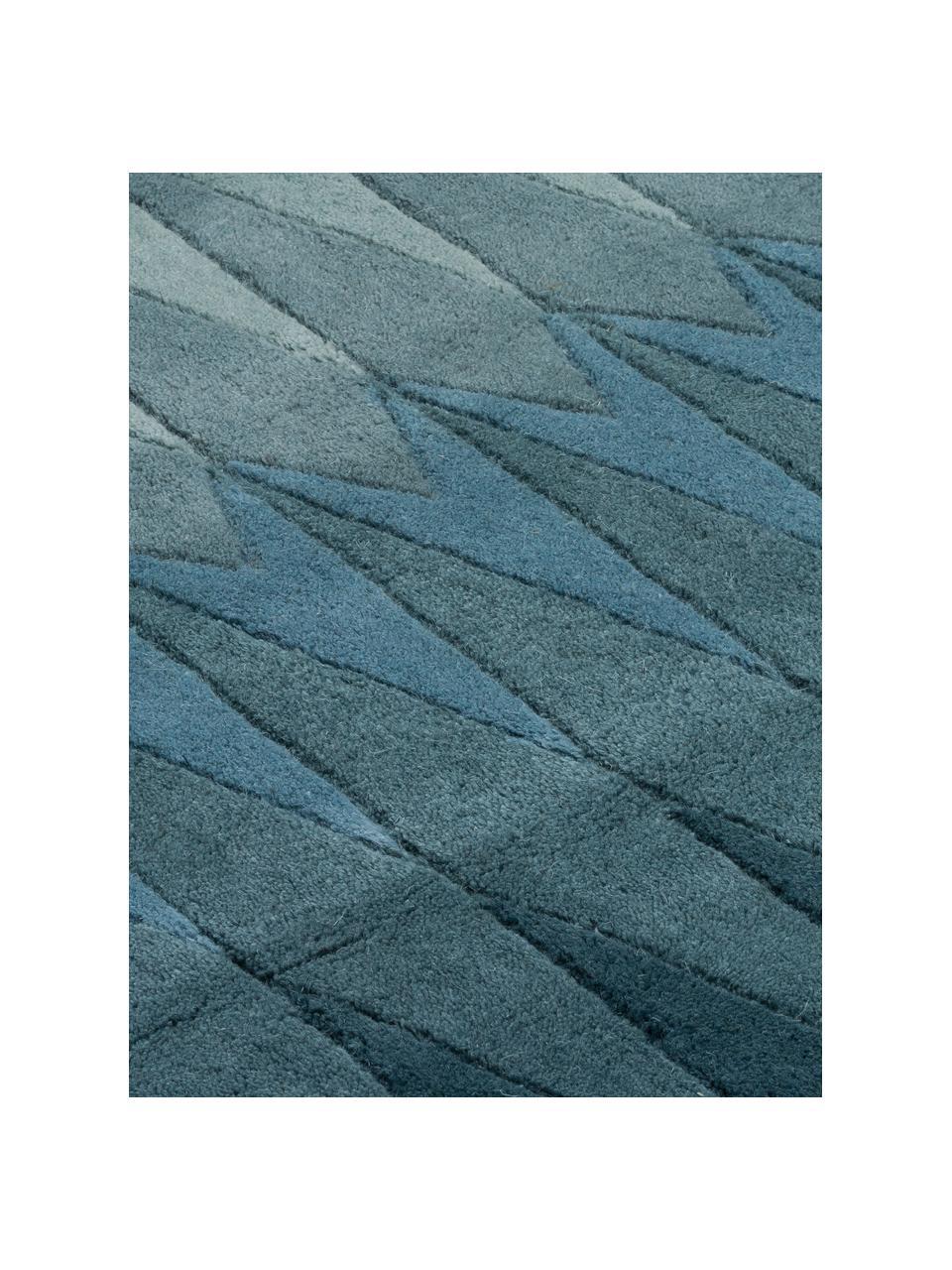 Ręcznie tuftowany dywan Acacia, Odcienie niebieskiego, odcienie beżowego, S 140 x D 200 cm (Rozmiar S)