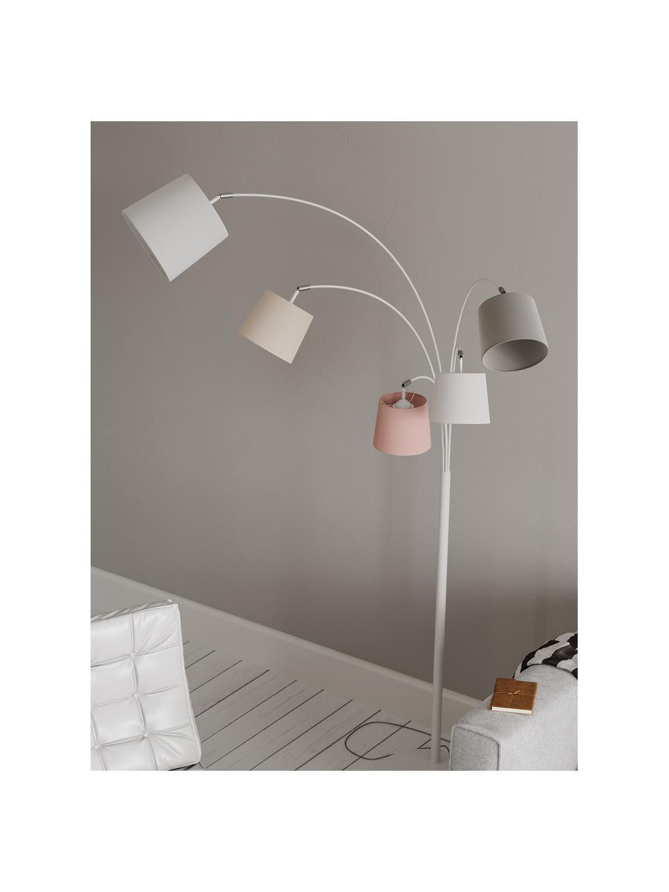 Grand lampadaire arc scandi Foggy, Blanc, gris, rose
