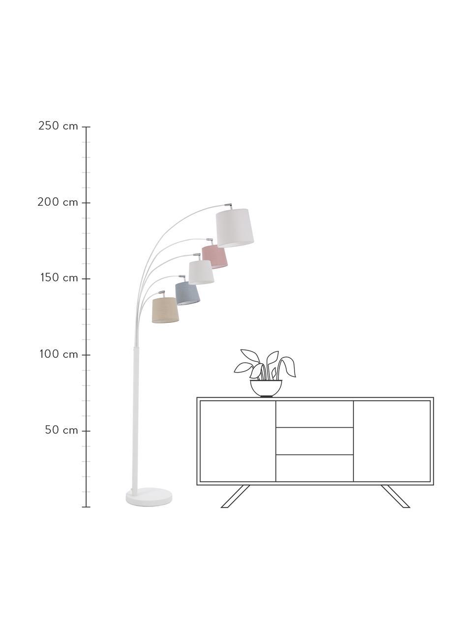 Lampada da terra con paralumi in tessuto Foggy, Paralume: poliestere, cotone, Base della lampada: metallo verniciato, Bianco, grigio, rosa, Larg. 80 x Alt. 200 cm