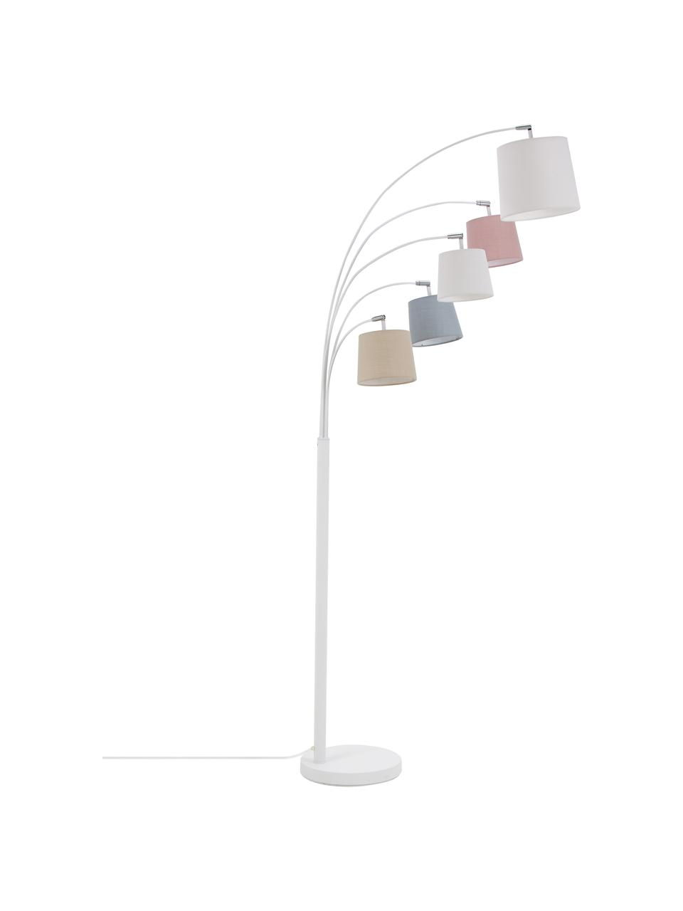 Grote verstelbare booglamp Foggy, Lampenkap: polyester, katoen, Lampvoet: gelakt metaal, Wit, grijs, roze, 80 x 200 cm