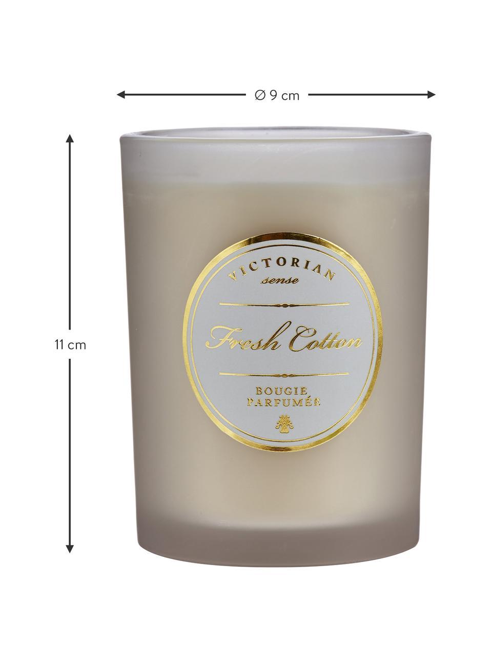 Duftkerze Sense (Frische Baumwolle), Behälter: Glas, Behälter: Grau Wachs: Weiß, Ø 9 x H 11 cm