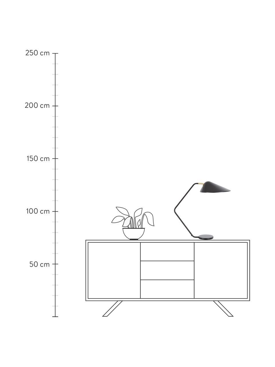 Grote bureaulamp Neron met goudkleurige decoratie in zwart, Lampenkap: gepoedercoat metaal, Lampvoet: gepoedercoat metaal, Decoratie: vermessingd metaal, Zwart, D 57 x H 56 cm