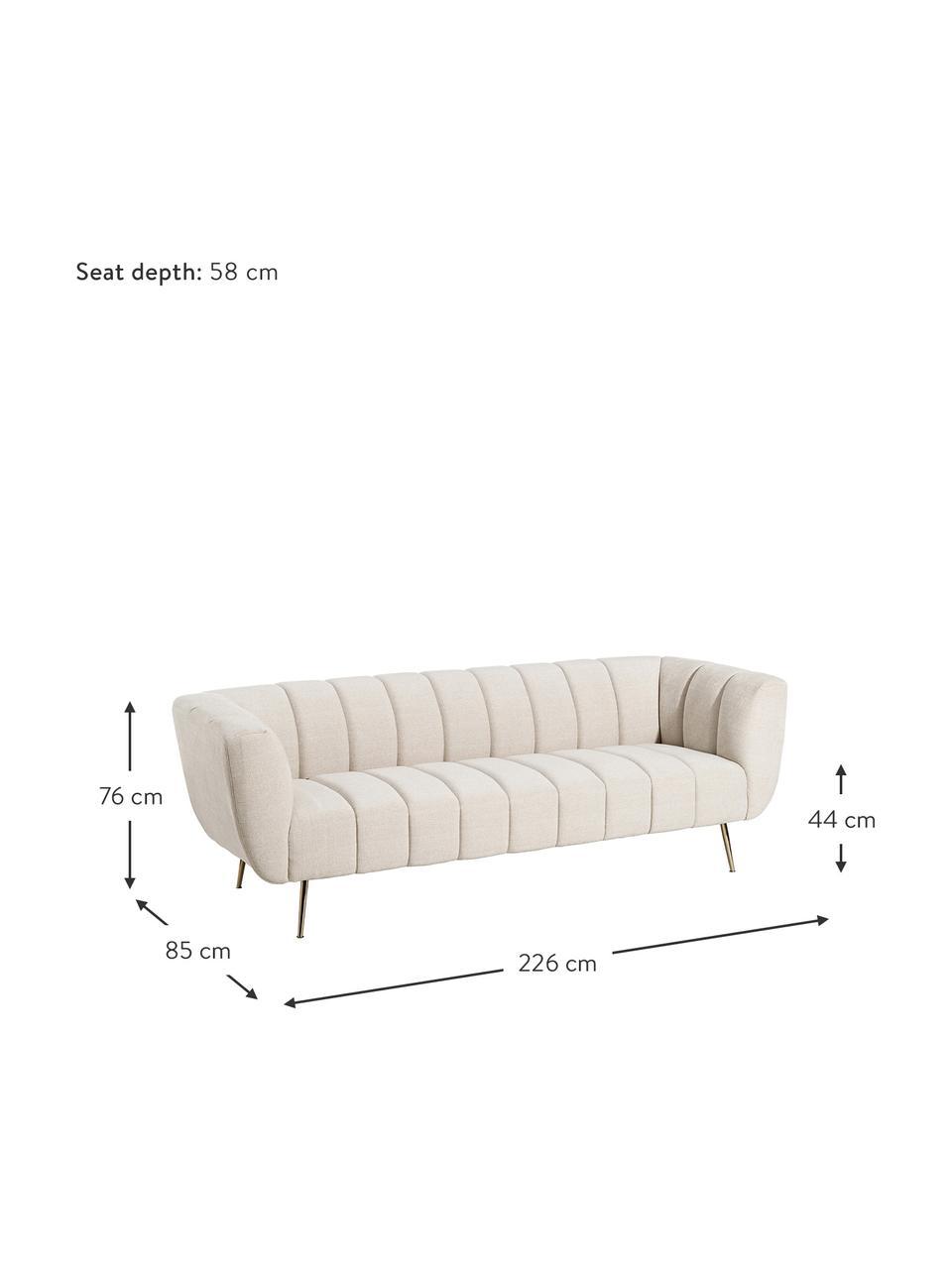 Sofa Mireia (3-osobowa), Tapicerka: poliester, Nogi: metal lakierowany, Beżowy, S 85 x G 226 cm