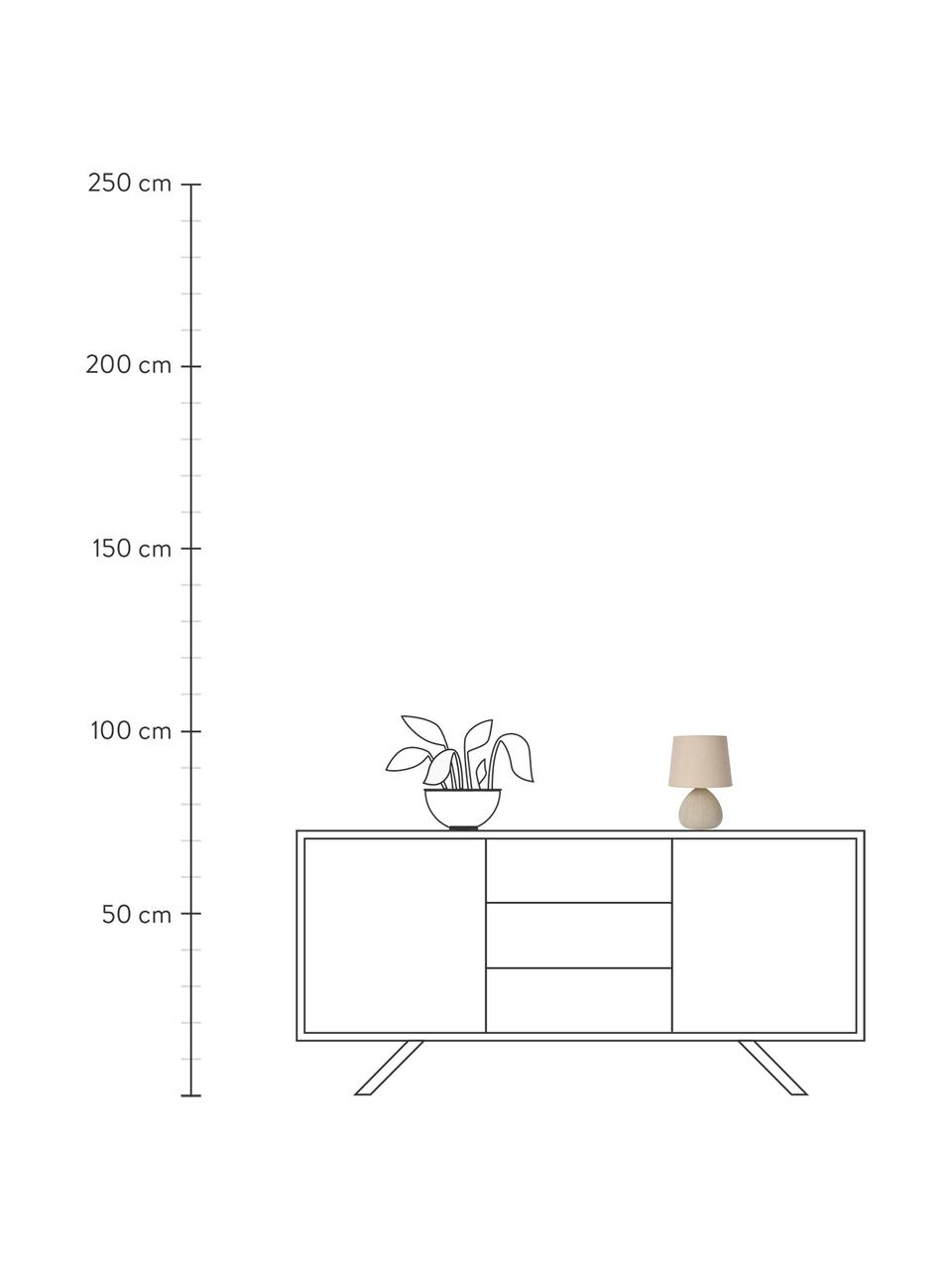 Kleine Keramik-Tischlampe Ramzi in Beige, Lampenschirm: Baumwolle, Lampenfuß: Keramik, Beige, Ø 18 x H 26 cm