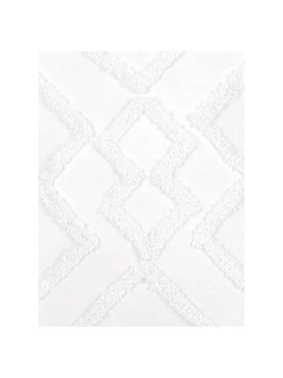 Kussenhoes Faith in wit met getuft ruitjesmotief, 100% katoen, Wit, 50 x 50 cm