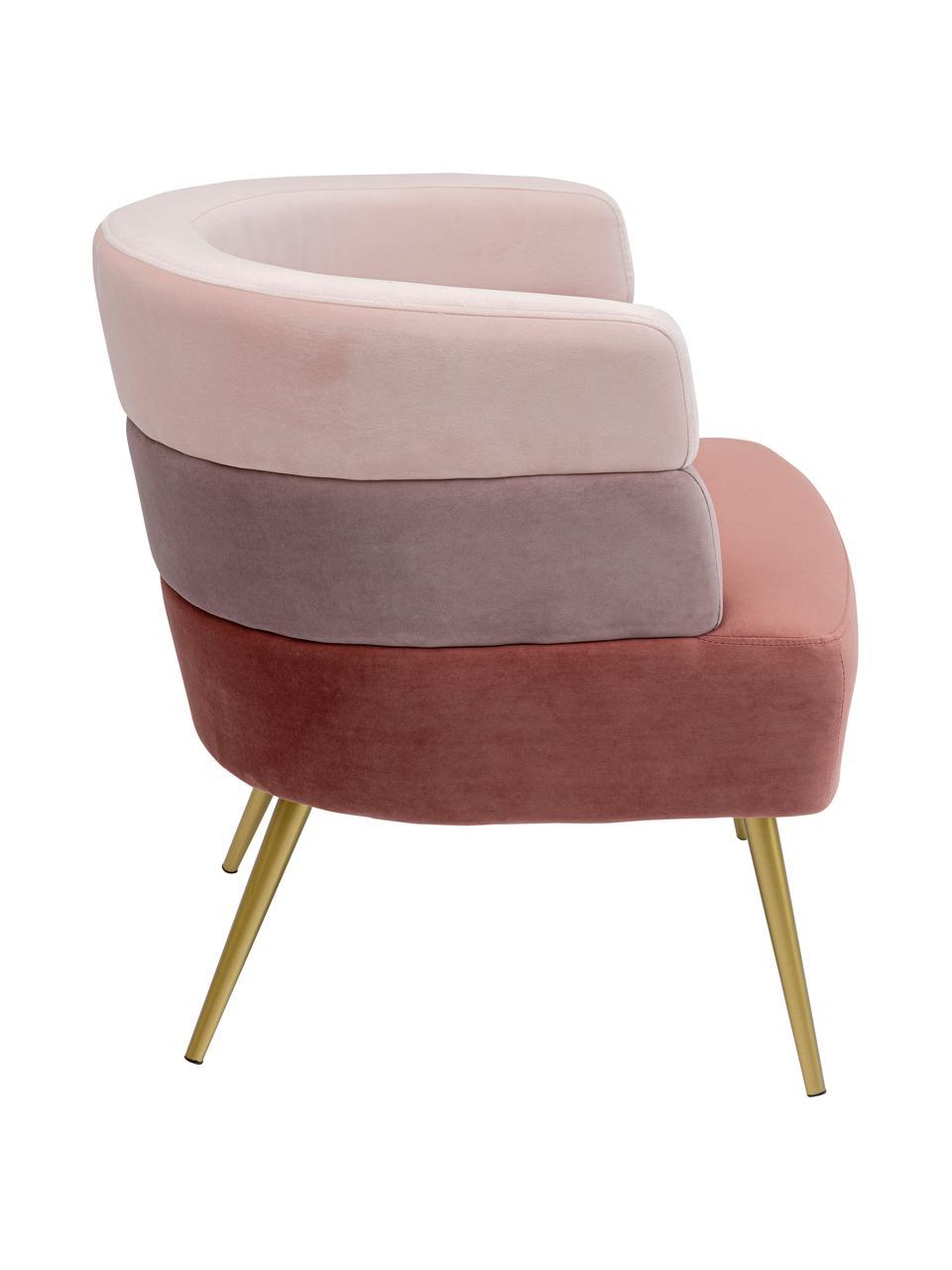 Poltrona in velluto in design retrò  Sandwich, Rivestimento: velluto di poliestere, Gambe: metallo rivestito, Velluto rosa, Larg. 65 x Prof. 64 cm