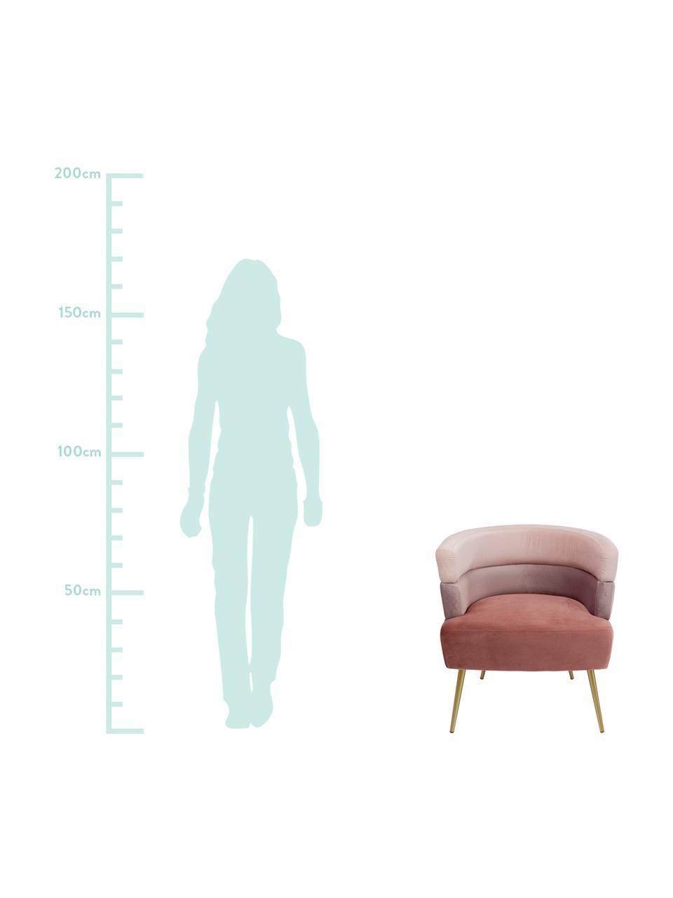 Fotel z aksamitu retro Sandwich, Tapicerka: aksamit poliestrowy, Nogi: metal powlekany, Aksamitny blady różowy, S 65 x G 64 cm