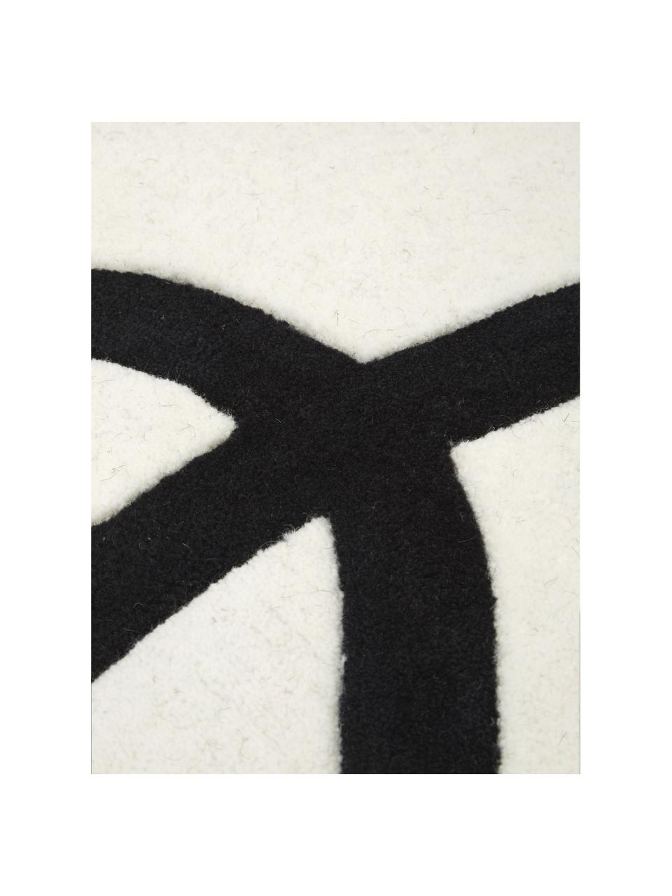 Tappeto in lana color bianco crema/nero taftato a mano Line, Retro: 100% cotone Nel caso dei , Beige, Larg. 80 x Lung. 150 cm (taglia XS)