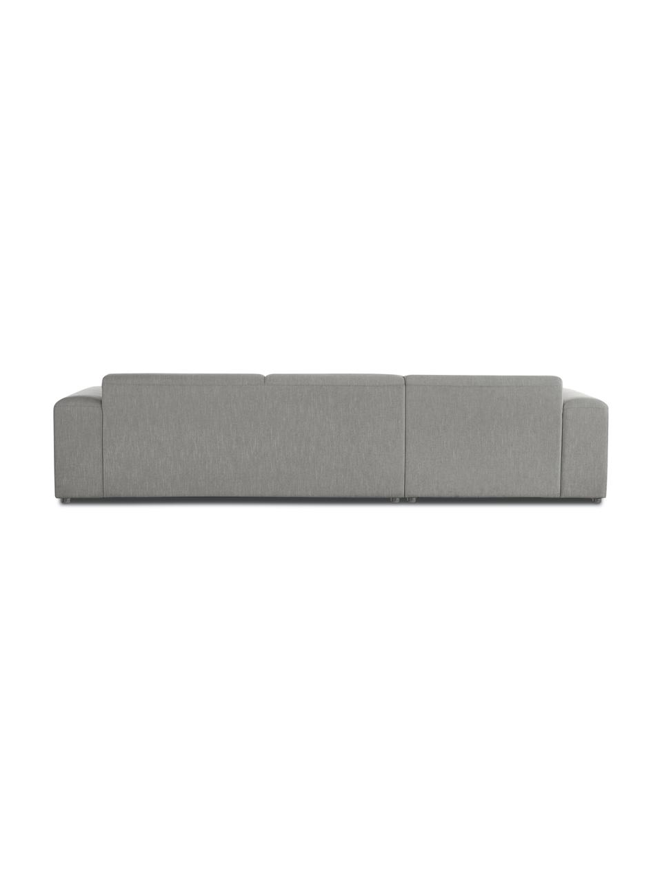 Canapé d'angle 4 places gris Melva, Tissu gris