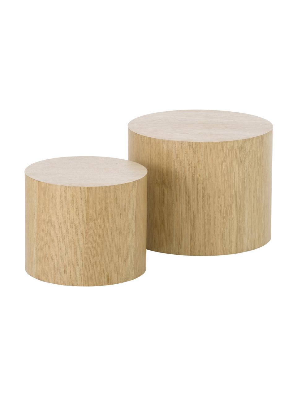 Set 2 tavolini in legno Dan, Pannello di fibra a media densità (MDF) con finitura in legno di quercia, Marrone chiaro, Set in varie misure
