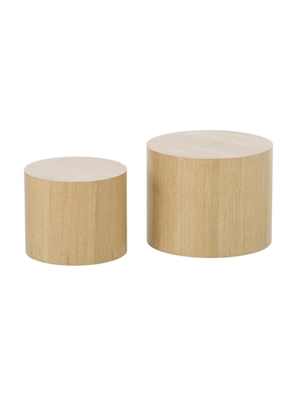 Komplet stolików pomocniczych z drewna Dan, 2 elem., Płyta pilśniowa (MDF), fornir z drewna dębowego, Jasny brązowy, Komplet z różnymi rozmiarami
