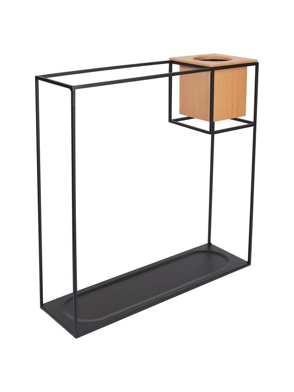 Półka ścienna z pojemnikiem Cubist, Czarny, jasny brązowy, S 38 x W 38 cm