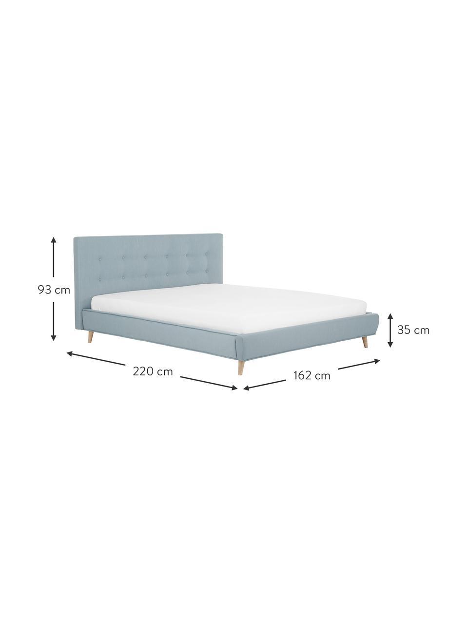 Gestoffeerd bed Moon in blauw, Frame: massief grenenhout en pla, Bekleding: polyester (gestructureerd, Poten: massief eikenhout, Geweven stof blauw, 180 x 200 cm